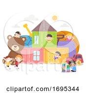 Poster, Art Print Of Kids Toys House Fun Illustration