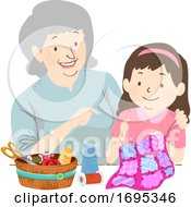 Senior Girl Kid Grandma Quilting Illustration