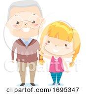 Senior Man Kid Girl Adjective Old Illustration