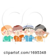 Kid Boys Diversity Friends Illustration