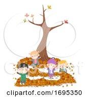 Poster, Art Print Of Kids Autumn Leaf Maze Tree Illustration