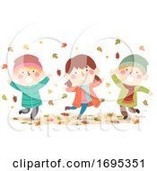 Kids Autumn Leaves Fall Illustration