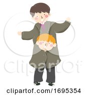 Kids Boy Pretend Tall Adult Clothes Illustration