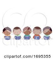 Poster, Art Print Of Kids Boys African Read Book Illustration