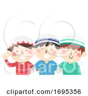 Kids Boys Muslim Friends Illustration