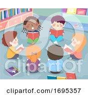 Poster, Art Print Of Kids Class Group Reading Aloud Illustration