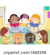 Poster, Art Print Of Kids Read Books Aloud Storytelling Illustration