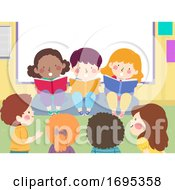 Kids Read Books Aloud Storytelling Illustration