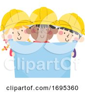 Kids Construction Engineers Blueprint Illustration