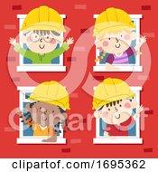 Kids Construction Engineers Building Illustration