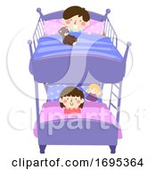 Kids Double Deck Bed Illustration