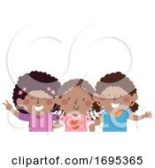 Kids Girls African Friends Illustration