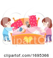 Kids Help Fixing Bed Illustration