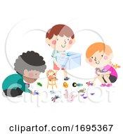 Kids Help Pick Up Toys Illustration