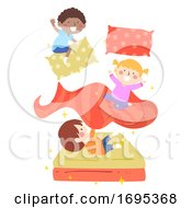 Poster, Art Print Of Kids Magic Bed Illustration