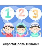 Kids Muslim Count 123 Speech Bubble Illustration