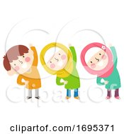 Kids Muslim Exercise Illustration
