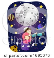 Kids Muslim Moon Space Telescope Illustration