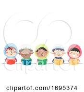 Kids Muslim Read Book Illustration