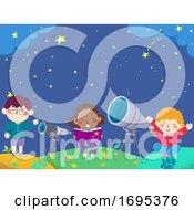 Poster, Art Print Of Kids Stargazing Book Telescope Illustration