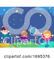 Kids Stargazing Book Telescope Illustration