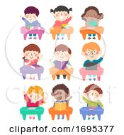 Poster, Art Print Of Kids Students Class Seats Raise Hands Illustration