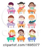 Kids Students Class Seats Raise Hands Illustration