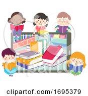 Poster, Art Print Of Kids Tablet Books Read Ebook Illustration