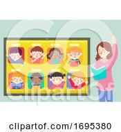 Poster, Art Print Of Kids Tablet Teacher Virtual Class Illustration
