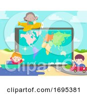Kids Tablet World Map Plane Ship Car Illustration