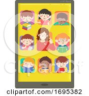 Kids Teacher Tab Online Study Illustration