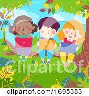 Kids Tree Branch Laptop Tablet Illustration