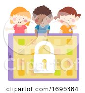 Kids Wait Locked Tablet Illustration
