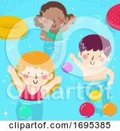 Poster, Art Print Of Kids Wave Pool Activities Balls Illustration