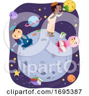 Poster, Art Print Of Stickman Kids Muslim Outer Space Illustration