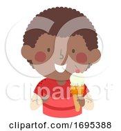 Poster, Art Print Of Kid Boy African Eat Ice Cream Illustration