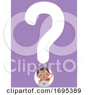 Kid Boy African Question Mark Tablet Illustration