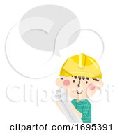 Kid Boy Construction Engineer Speech Bubble