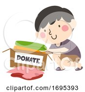 Kid Boy Donate Clothes Illustration