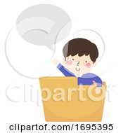Kid Boy Folder Speech Bubble Illustration