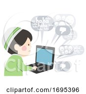 Kid Boy Muslim Cyber Bully Laptop Illustration