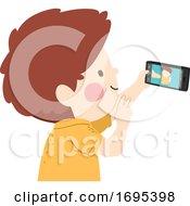 Kid Boy Take Selfie Picture Illustration