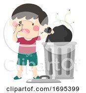 Kid Boy Throwing Garbage Stinky Illustration