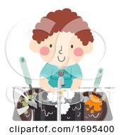 Poster, Art Print Of Kid Boy Wash Pots Pans Illustration