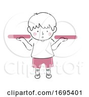Kid Boy Weigh Both Hands Illustration