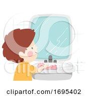Kid Boy Wiping Bathroom Counter Illustration
