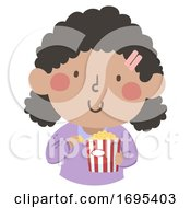 Poster, Art Print Of Kid Girl African Eat Pop Corn Illustration