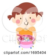 Kid Girl Fixing Bowl Cereal Illustration