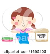 Kid Girl Garage Sale Clothes Illustration