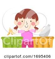 Poster, Art Print Of Kid Girl Garbage Sorting Illustration